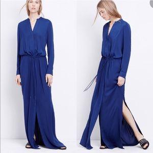 Vince Blue Maxi Shirt Dress Side Slit Pockets